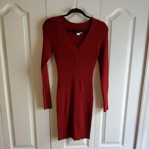NEW Nikibiki Maroon Ribbed Sweater Dress Large